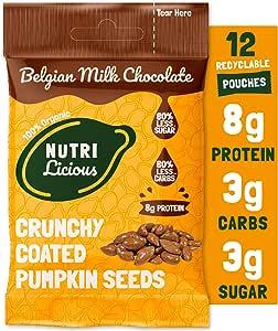 Nutrilicious Semillas de Calabaza de Chocolate con Leche - Keto, Ricas en Proteínas Bajos en Carbohidratos, Menos Azúcar, Ricas en Fibras, Sin Edulcorante (12 x 30g)