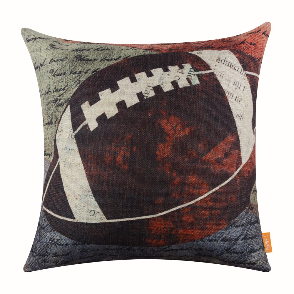 "LINKWELL 18""x18"" Vintage American Football Popular Sports in USA Rugby with Small Words for Man Cave Burlap Throw Pillow Case Cushion Cover (CC1118)"