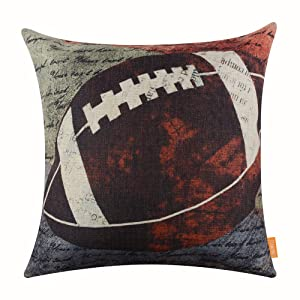 """LINKWELL 18""""x18"""" Vintage American Football Popular Sports in USA Rugby with Small Words for Man Cave Burlap Throw Pillow Case Cushion Cover (CC1118)"""