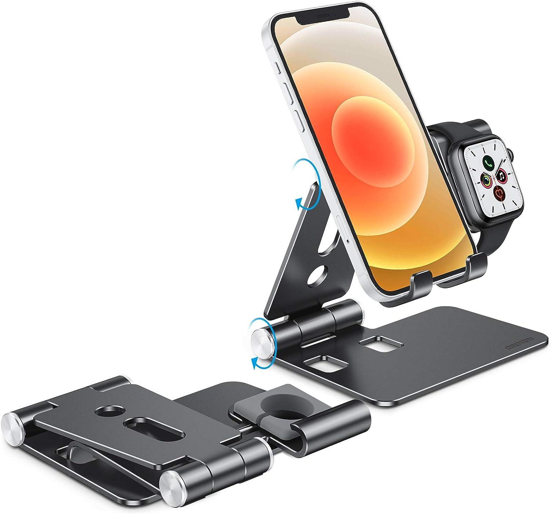 Argent/é iPhone 12//Se 2020//11 Pro Max//XR Station de Chargement Compatible avec iWatch Se 6//5//4//3//2//1 2 en 1 Support Dock R/églable en Aluminium OMOTON Support pour Apple Watch
