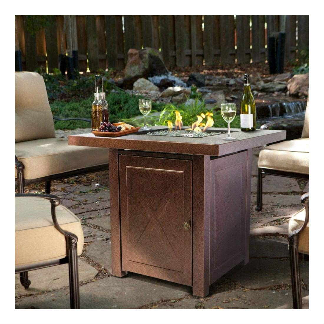 Outdoor Fire Pit Table Furniture Patio Deck Backyard Heater Fireplace LP Gas by Unknown