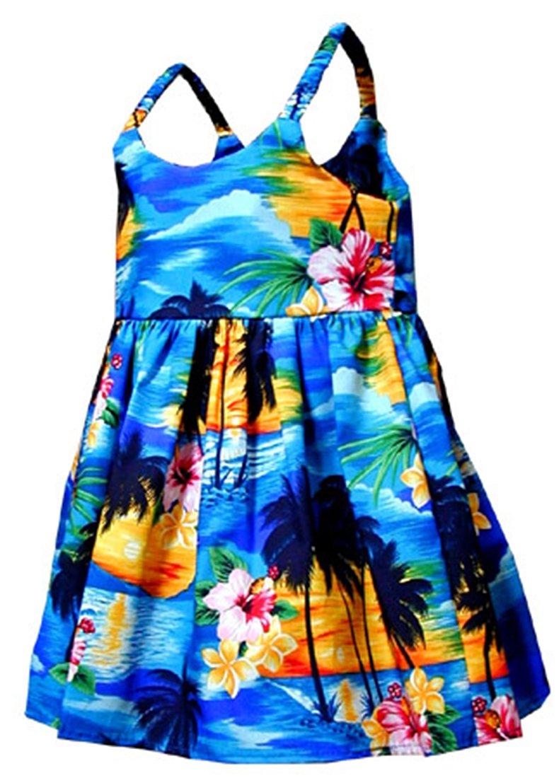Pacific Legend Girls Brilliant Hawaiian Island Sunset Toddler Bungee Dress Blue 6 months