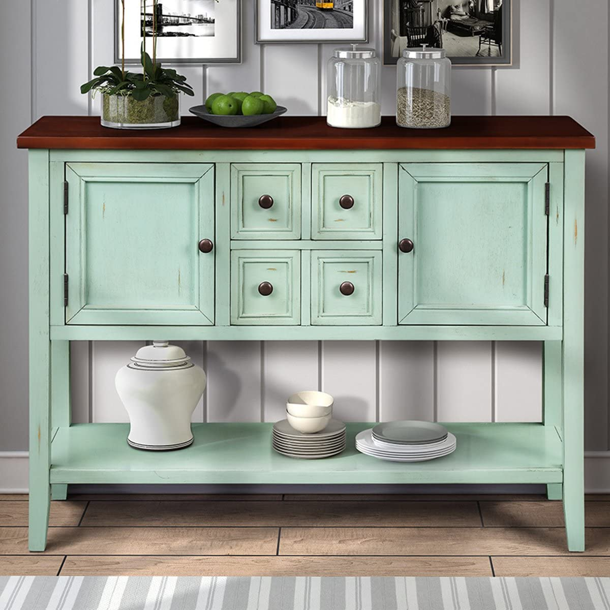 34 Inch Antique Console Table Julyfox 46 Inch Long Hallway Table With Storage Drawers And Shelf Solid Wood Entryway Sofa Table Heavy Duty For Living Room Office Bar Antique Blue Kitchen Dining