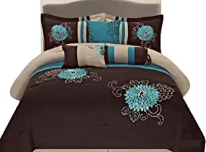 Legacy Decor 7 Pc Brown, Teal and Taupe Floral Striped Design Queen Size Comforter Set