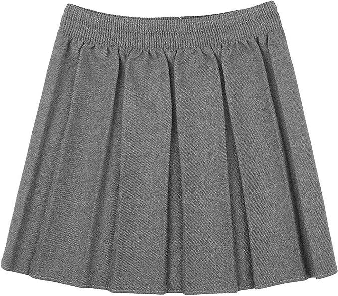 Falda plisada con cintura elástica y plisada con estilo para niñas ...