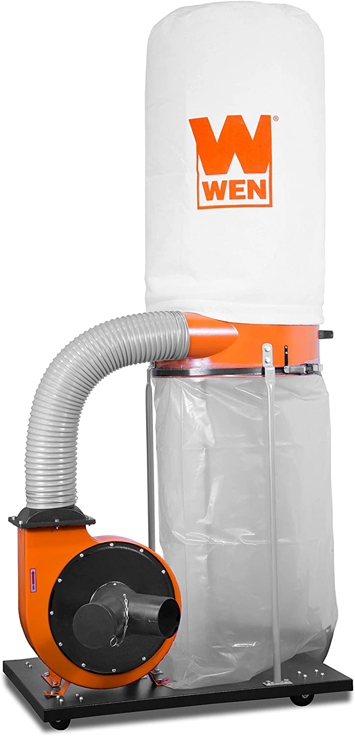 WEN 3403 2-Horsepower 1,500 CFM 16-Amp Woodworking Dust Collector with 50-Gallon Collection Bag and Mobile Base
