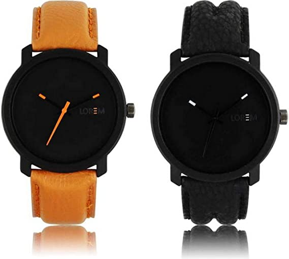 a8765a851b Buy LOREM FZ Brown and Black Professional Look Combo Watches for Men Online  at Low Prices in India - Amazon.in