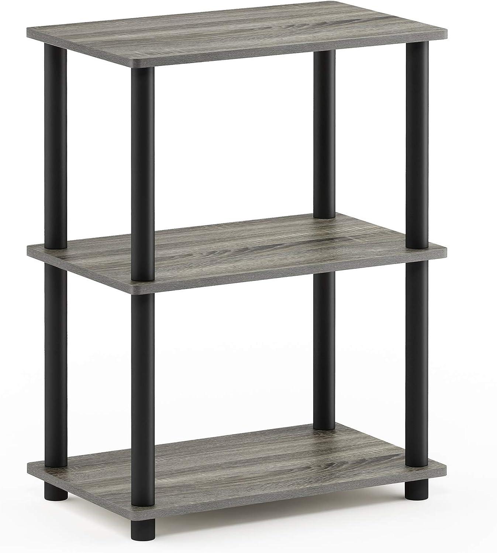 Furinno Turn-N-Tube No Tool 3-Tier Storage Shelf, Narrow, Espresso/Black