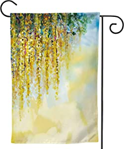 Abstract flowers painting.Spring ellow Wisteria with soft and blue color.Blank space for our design,Welcome Garden Flag Double Sided Rustic Farmhouse Burlap Yard Outdoor Decoration 12.5''x18''