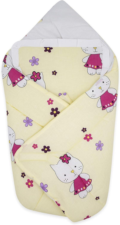 BlueberryShop manta de algodón para bebés con almohada   Saco de dormir para bebés recién nacidos   Regalo perfecto para Baby Shower   78 x 78 cm   Crema Gatito