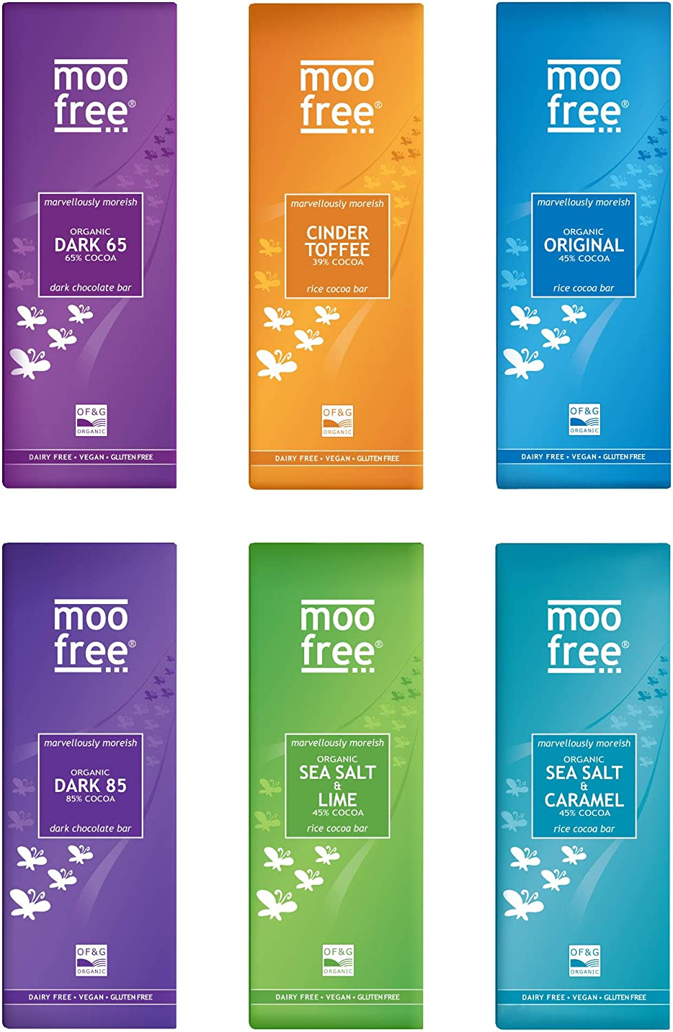 Moo Free Marvelous Luxury Organic Mixed Case Premium Chocolate Selection 6 x 80g