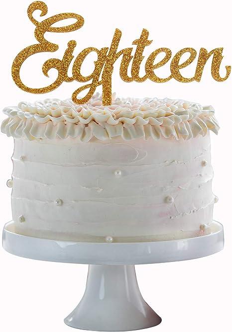 Groovy Amazon Com Eighteen Happy Birthday Cake Topper Gold Acrylic Cake Birthday Cards Printable Trancafe Filternl