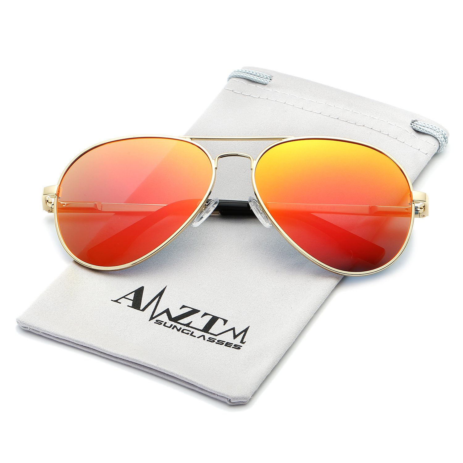 AMZTM Top Quality Classic Retro Eyewear Double Bridge Metal Frame Trend Fashion Mirrored Reflective REVO Polarized Lens Designer Aviator Sunglasses For Women and Men (Gold Frame Orange Red Lens, 62)