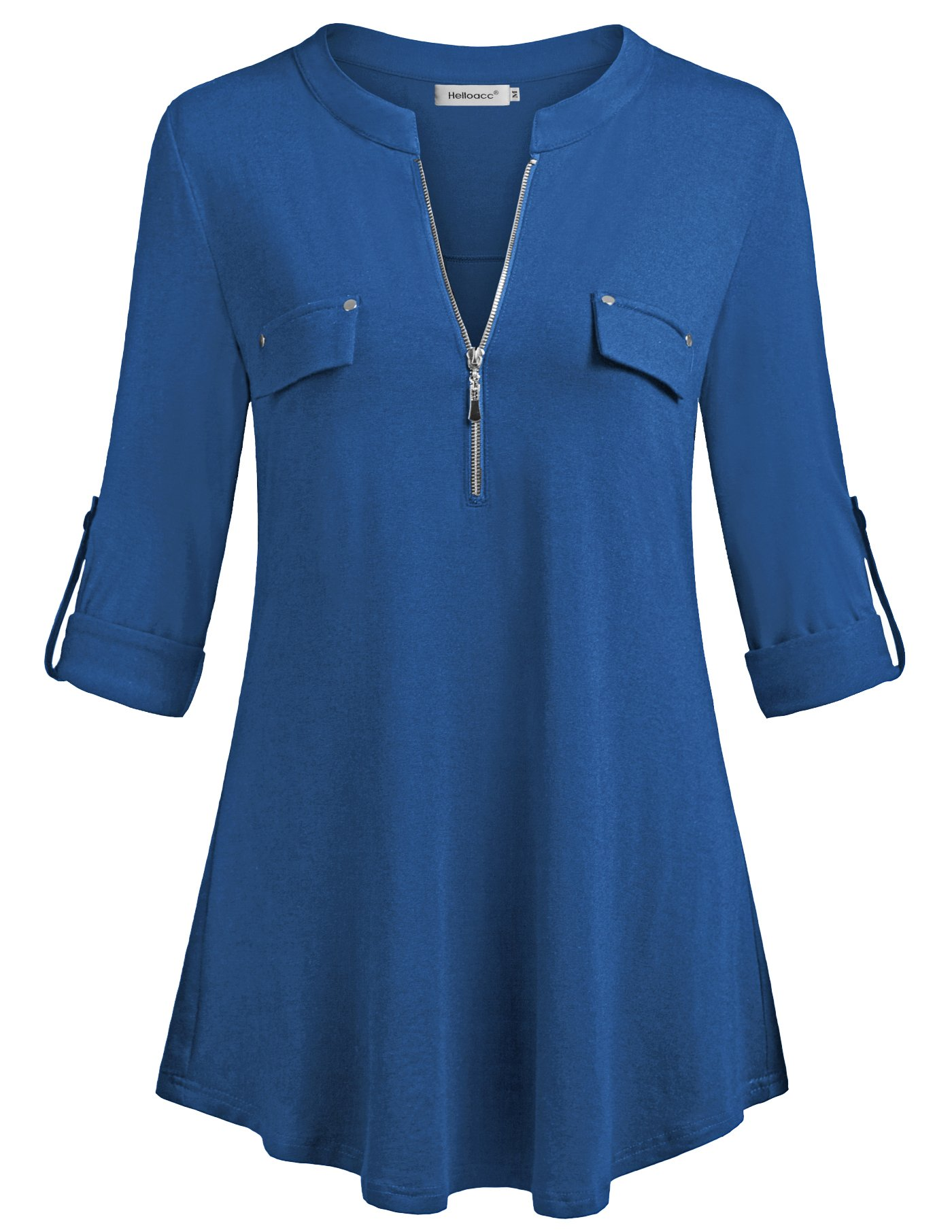 Helloacc Ladies Blouses,Loose Fit Split V Neck Work Office Wear Easy Fit Tops & Shirts Top Outfits Casual Dress Shirts Shirttail Flare Hem Aline Tshirts Fall Fashion Outdoor Fancy Blue L US14