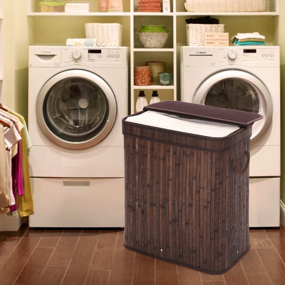SONGMICS Folding Laundry Basket with Lid Handles and Removable Liner Bamboo Hampers Dirty Clothes Storage Rectangular Dark Brown ULCB63B by SONGMICS (Image #2)