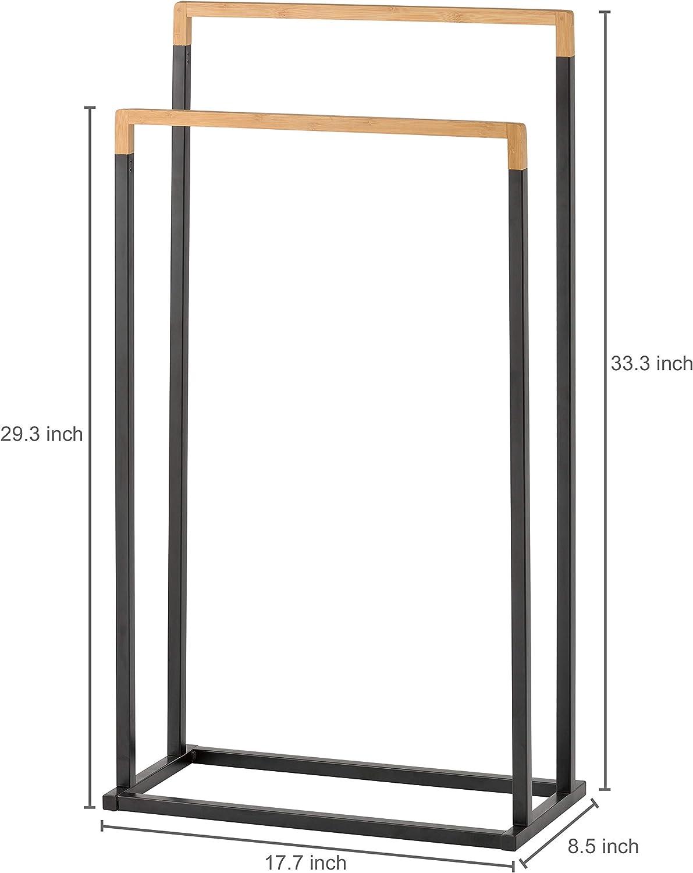 Brown Quilt Stand Multi-Level Bathroom Towel Bar Mind Reader Freestanding Bamboo Shelf 2-Tier Folding Pool Drying Rack