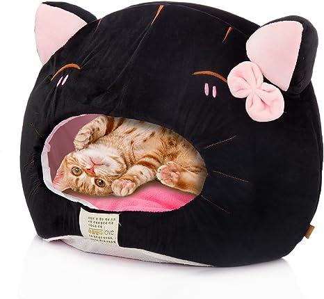 Tera Cama Cesta para Gato Cueva con Cama Colchon Cojin en Formato de Gato para Gatos, Perros y Otros Mascotas Pequeños Gris: Amazon.es: Electrónica