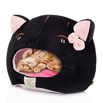 Tera Cama Cesta para Gato Cueva con Cama Colchon Cojin en Formato de Gato para Gatos, Perros y Otros Mascotas Pequeños Gris