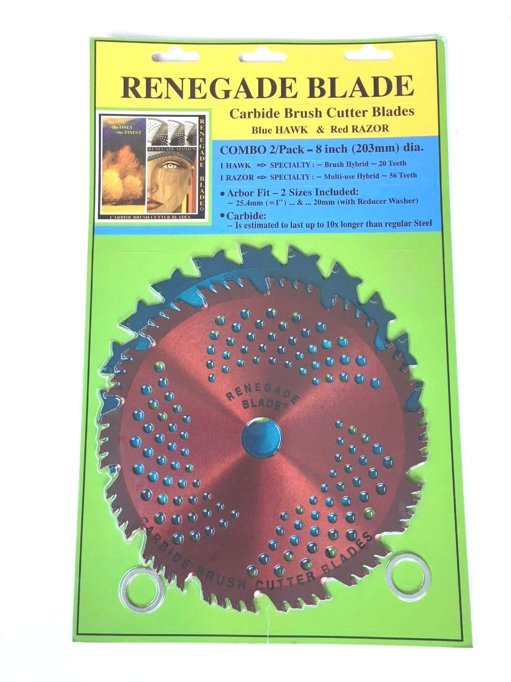 Renegade Blade 2pk-8''-20t/56t Combo Pack - (1) 20 Teeth Blue Hawk (1) 56 Teeth red Razor - Hybrid Pack GS1 Barcoded Shelf Hanging Blister Pack- Carbide Brush Cutter Blades, 203mm Dia.