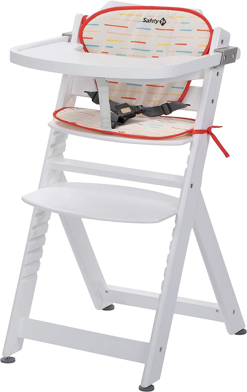 Safety 6st Chaise Haute pour bébé en Bois et Evolutive Timba avec coussin  Blanche / Rouge