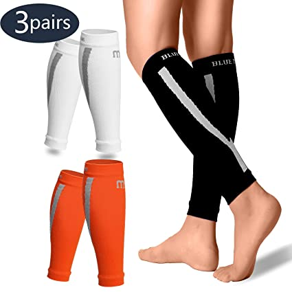 3ccc5358f2003 BLUETREE Calf Compression Sleeves Men & Women(3/6 Pairs) - Best Footless  Compression Socks Shin Splints, Running, Leg Pain, Nurses & Maternity ...