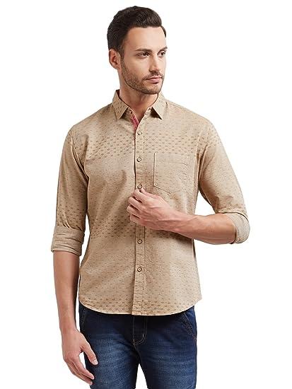 8ee68a2570de3 Vulcan Beige Solid Full Sleeves 100% Cotton Casual Shirt for Men ...