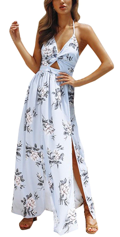 YUPOLB Lang Kleid mit Schlitz Damen Tief V Ausschnitt Halfter Hals Rückenfrei Kleider Partykleid Cocktailkleid Abendkleider Mode Maxikleid Strandkleider Blusenkleider
