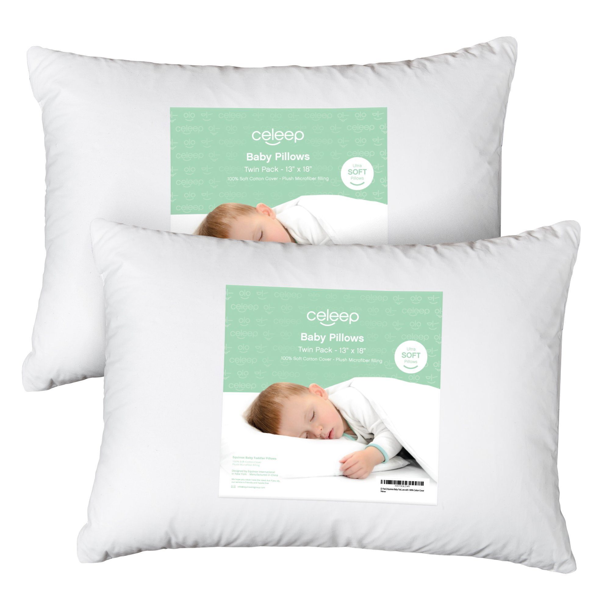 [2-Pack] Celeep Baby Toddler Pillow Set - 13'' x 18'' Toddler Bedding Small Pillow – Baby Pillow with 100% Cotton Cover