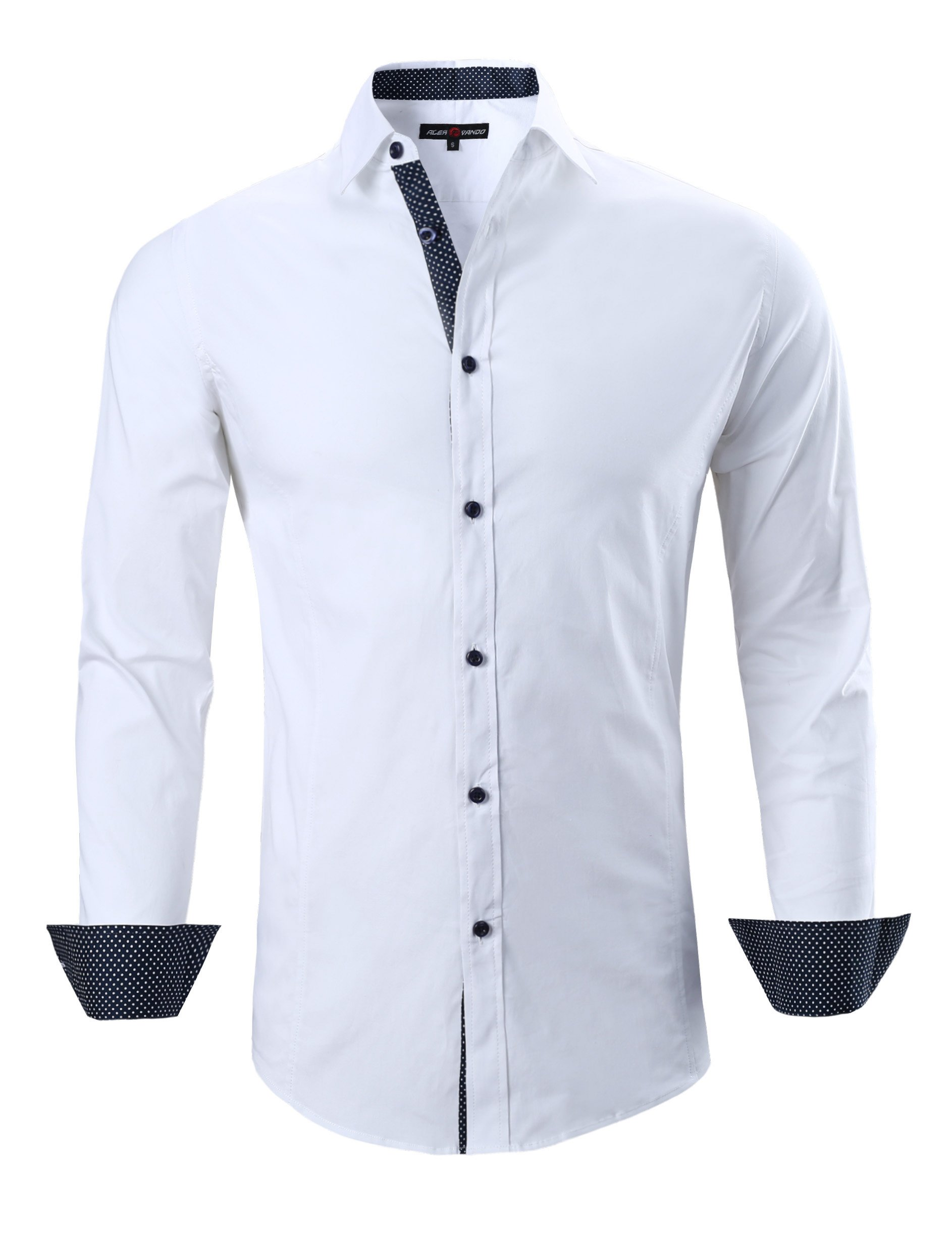 Joey CV Mens Casual Button Down Shirts Long Sleeve Regular Fit(White,Small)