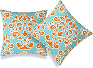 Hofdeco Coastal Patio Indoor Outdoor Pillow Cover ONLY for Backyard, Couch, Sofa, Orange Aqua Damask, 18