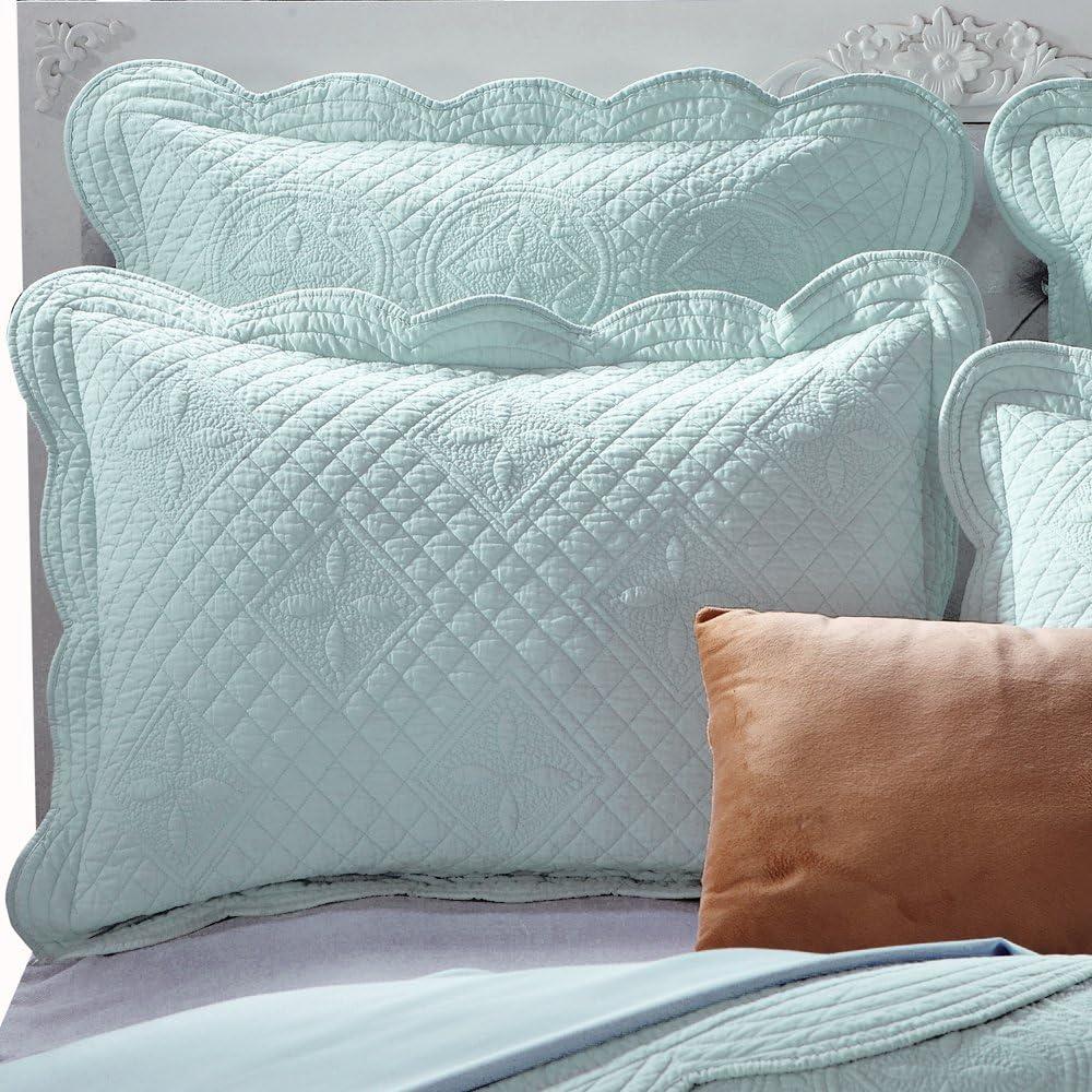 "Sage Garden Luxury Pure Cotton Quilted Standard Pillow Sham 20"" x 26"" By Calla Angel, Light Aqua, Standard"