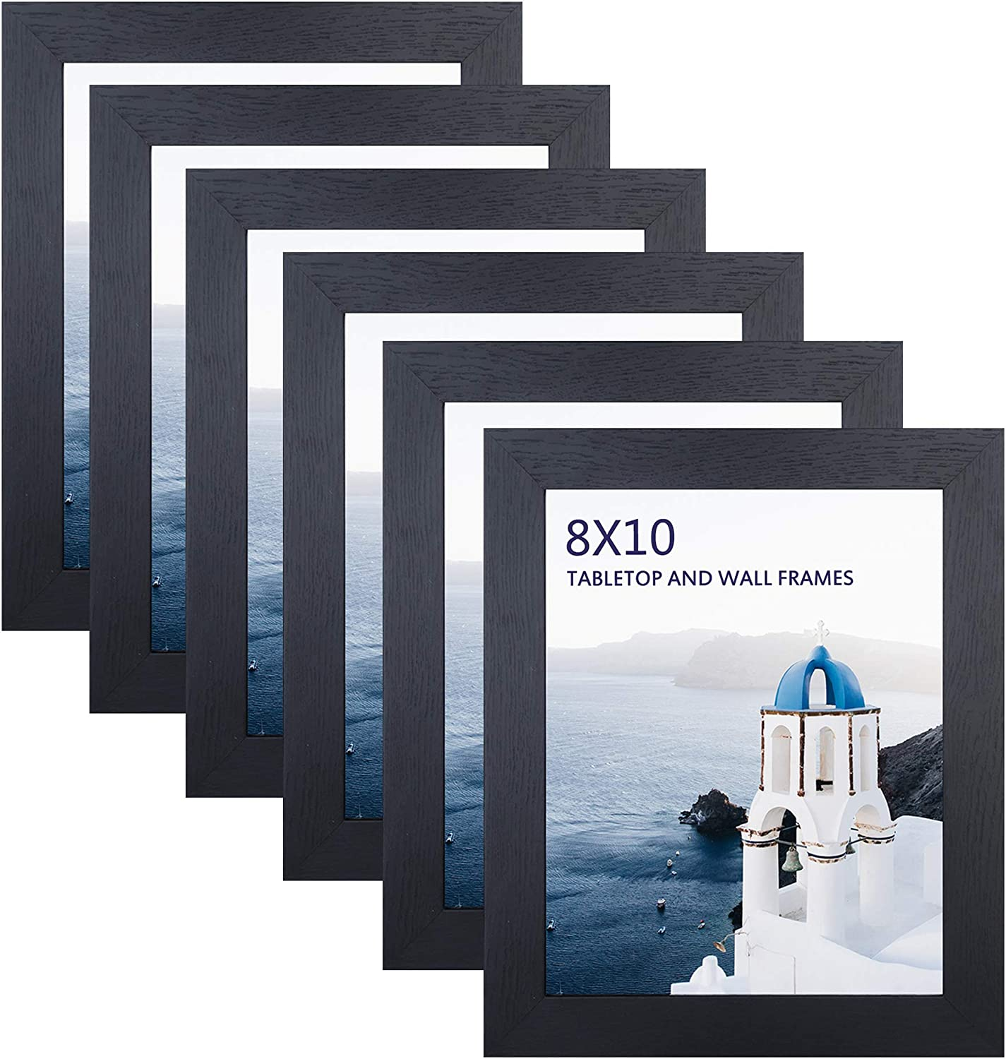 FRAME YI 8x10 Picture Frames - Wall Table Top Display - Photo Frames for School Office Home Decor (Black(A-Landscape), 6)