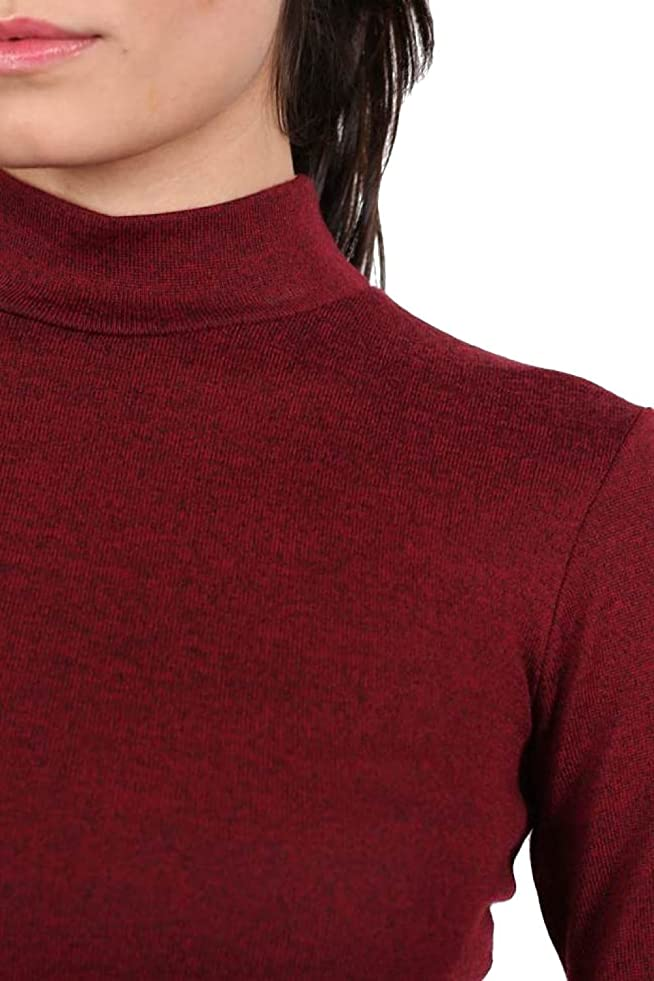 Amazon.com: PILOT Turtle Neck Long Sleeve Plain Knitted Crop Top in Wine Red: Clothing