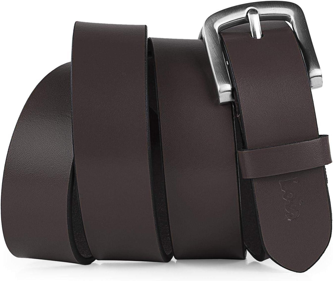 Lois - Cinturón de Cuero Piel Genuina con Hebilla Metálica. Resistente Flexible y Duradero. Caja para Regalo Original. Calidad y Diseño Exclusivo. Ancho 30 mm 49807, Color Marron