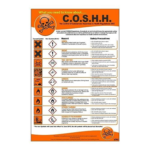 COSHH Poster. The Control of Substances Hazardous to Health Regulations 2002. 200mm x 300mm Self adhesive Vinyl sticker. (1)