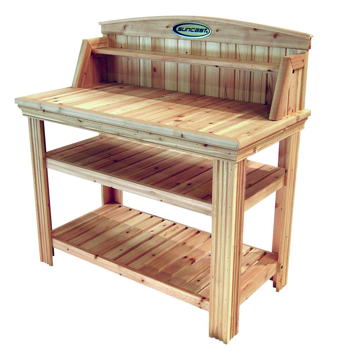 Suncast Cedar Freestanding Bench Ideal for Garages, Sheds, Basements - Organize Garden Equipment Supplies, Pots, Watering Cans - Hardware Included