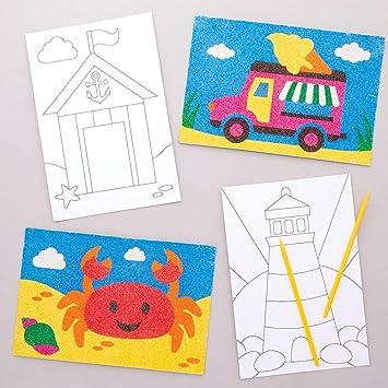 Baker Ross- Dibujos marinos para decorar con arena (Pack de 8 ...