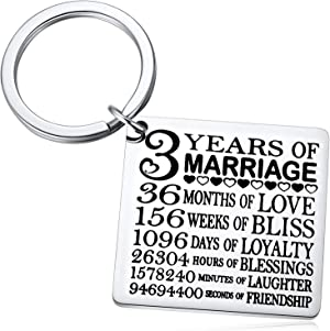 3 Years of Marriage Keychain, Our 3rd Wedding Anniversary, 3 Years as Husband & Wife, Gifts for Her, for Him, Couples Key Chin