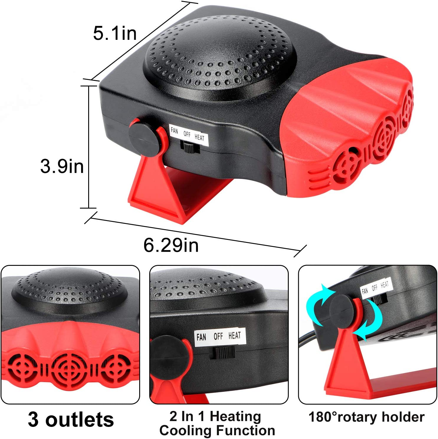 Fast Heating Quickly Defrosts Defogger 12V 150W Auto Ceramic Heater Fan 3-Outlet Plug in Cig Lighter Red Portable Car Heater,Auto Heater Fan,Car Defogger