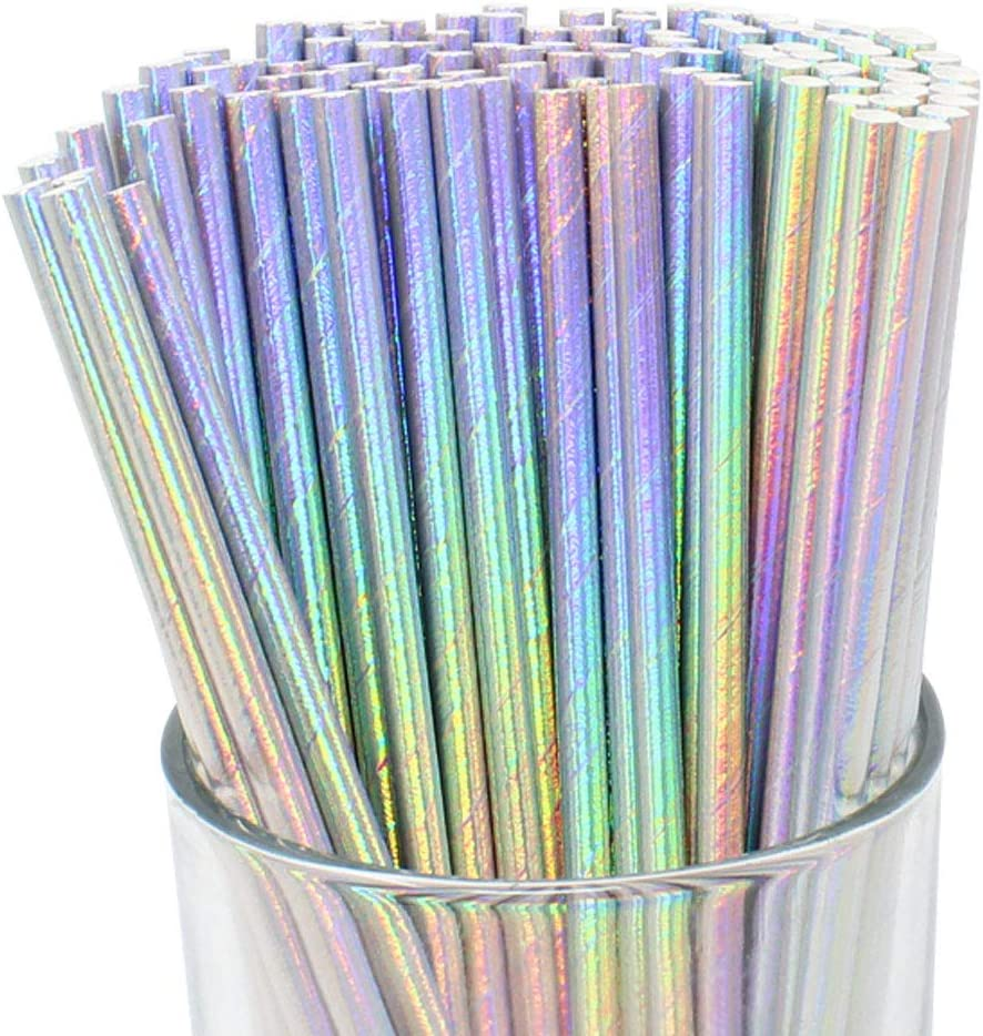Just Artifacts Iridescent Disposable Drinking Party Paper Straws (100pcs, Silver)