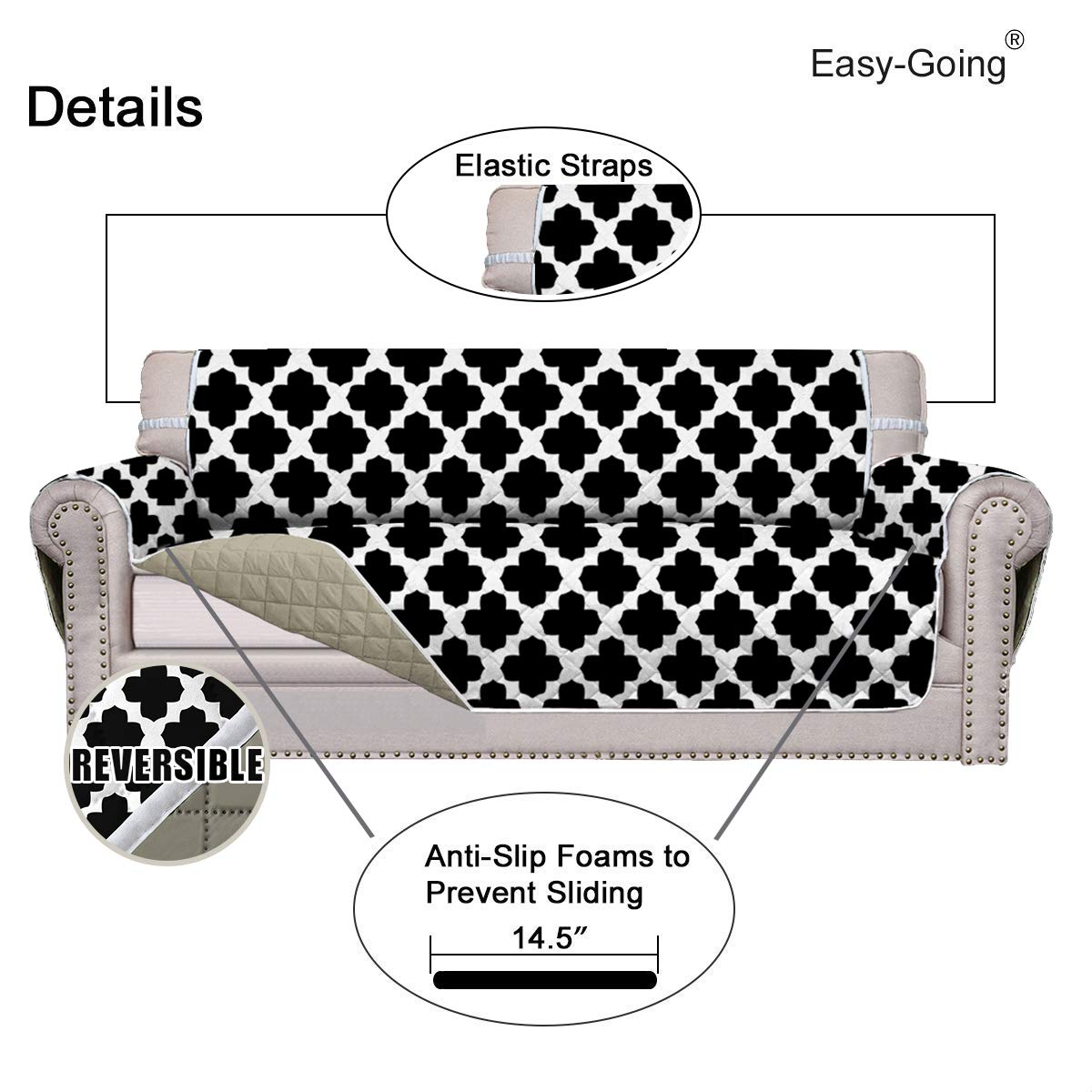 Easy-Going Sofa Slipcover Reversible Sofa Cover Furniture Protector Sofa Shield Couch Shield Water Resistant Elastic Straps Pets Kids Children Dog Cat