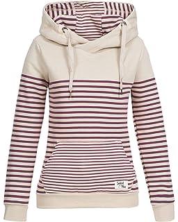 Sublevel Damen Sweatshirt Hoodie Kapuze LSL-287 Streifen 81ebcaec11