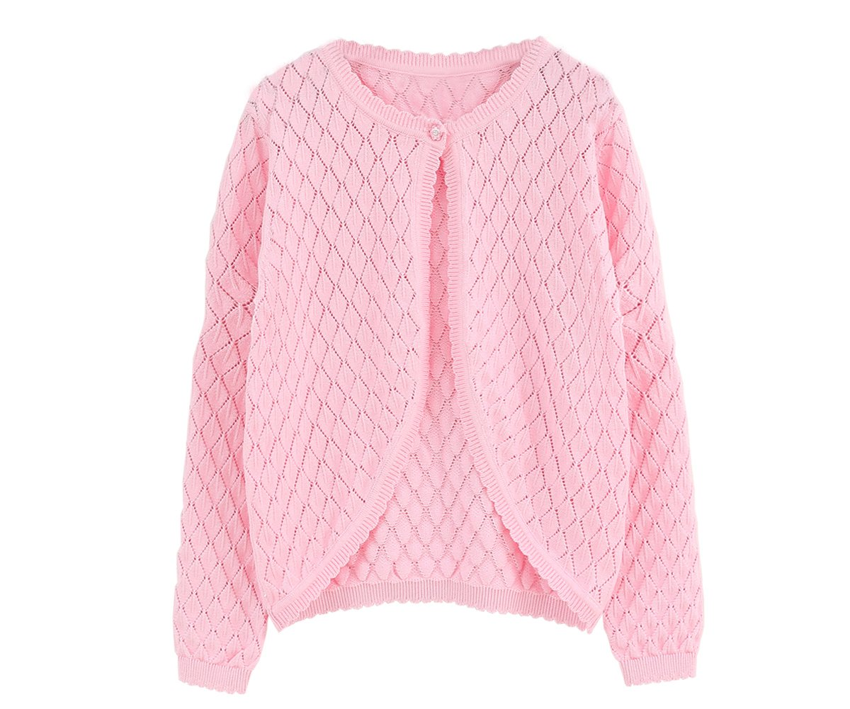 SMILING PINKER Little Girls' Long Sleeve Sweater Cardigan Diamond Knit Bolero Shrug (7-8,Pink)