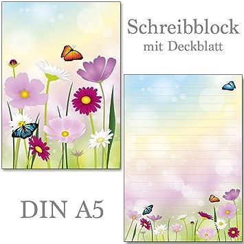 2 Schreibblöcke Schöne Blumenwiese 50 Blatt Format Din A5 Mit