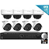 LaView 8 1080P IP Camera Security System 16 CH 1080P IP PoE NVR w/3TB HDD & 4 IP Bullet, 4 IP Dome 2MP Camera