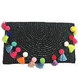 Straw Pom Pom and Tassel Clutch - Colorful Summer Bag
