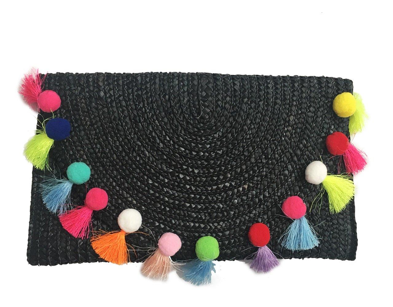 Straw Pom Pom and Tassel Clutch - Fashion Bag for Summer (Black-Multi)