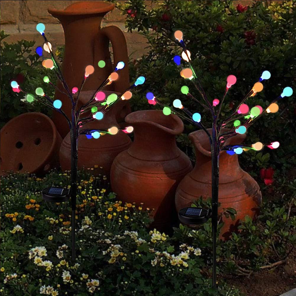 Balkon und Terrasse 2 x Solarleuchten f/ür Garden Warmwei/ß LED Feuerwerk lichterkette Au/ßen Stecker Solarleuchten mit Funkeln und Dauerlicht 2 Beleuchtungsmodi f/ür Garten