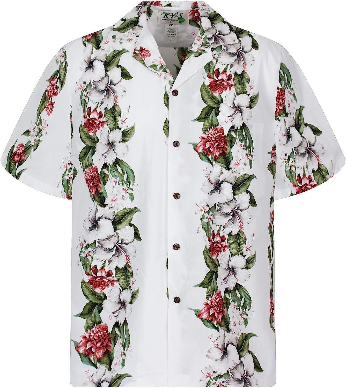 KYs | Original Camisa Hawaiana | Caballeros | S - 3XL | Manga Corta | Bolsillo Delantero | Estampado Hawaiano | Flores | Blanco: Amazon.es: Ropa y accesorios
