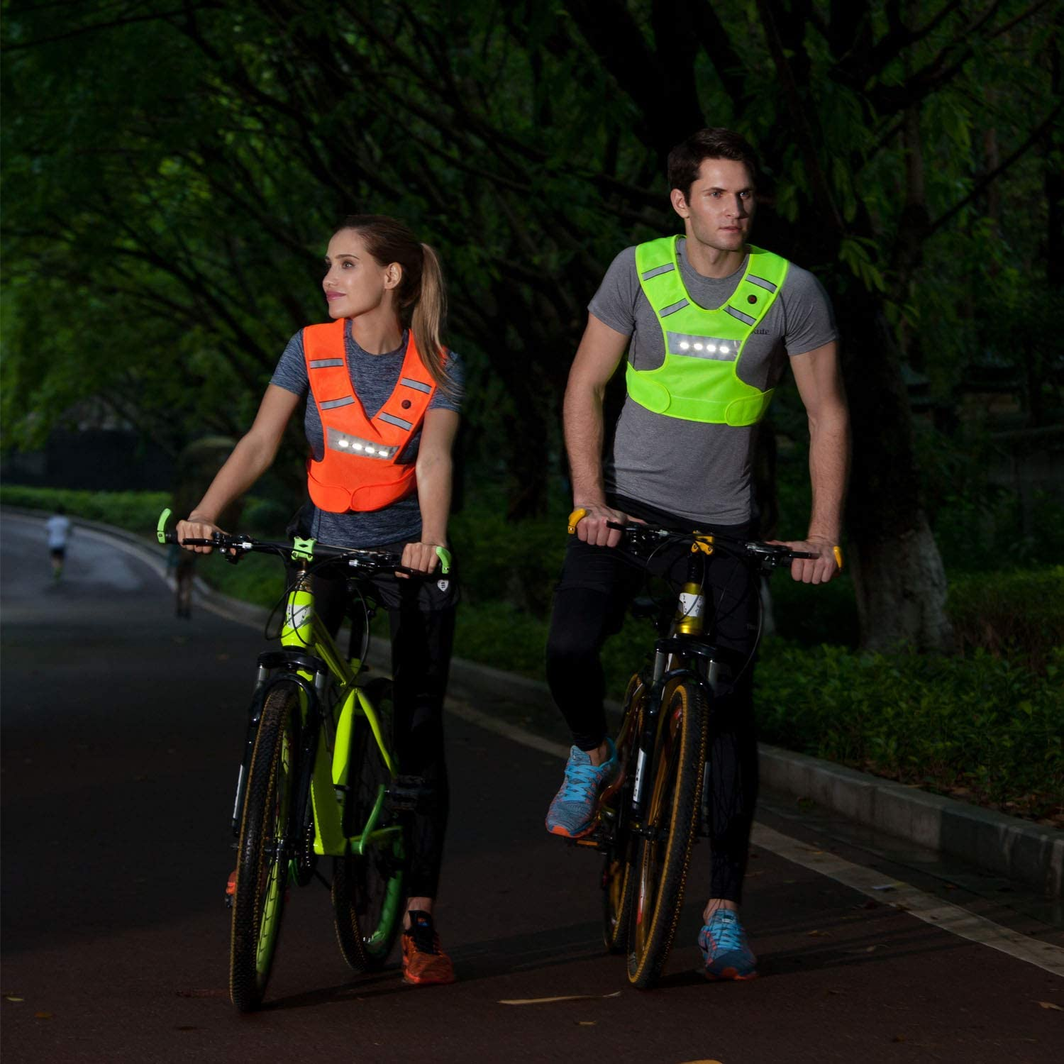 High Visibility Light Up Flashing Vest Gifts for Men Women Kids Dog Walking AMNQUERXUS Machine Washable Reflective Running Vest with LED Lights USB Rechargeable Safety Gear with Adjustable Waist